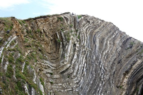 The craggy cliffs of Lulworth Cove